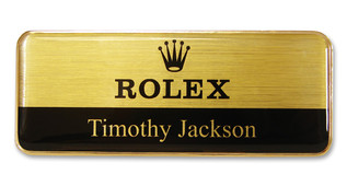 Metal Name Badges - Gold border and brushed gold / black background | www.namebadgesinternational.ca